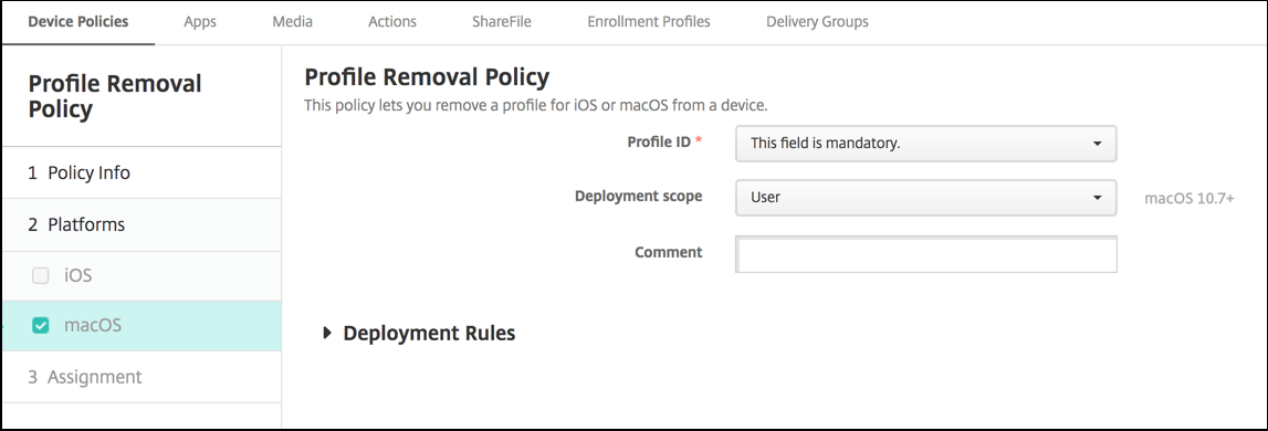 Profile Removal device policy