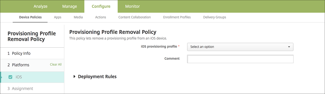 Provisioning profile removal policy settings