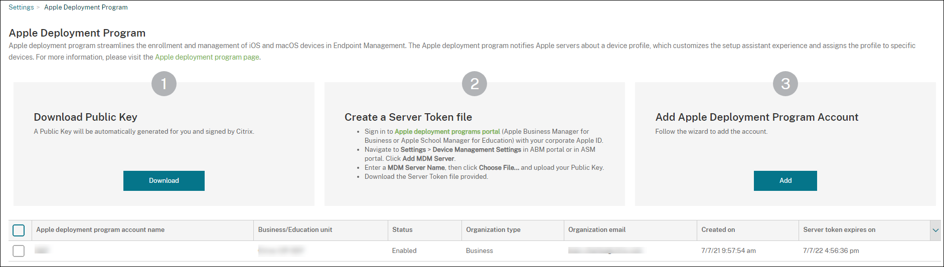 Apple Deployment Program settings screen