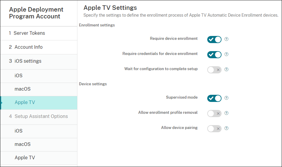 Image of Apple DEP settings configuration screen