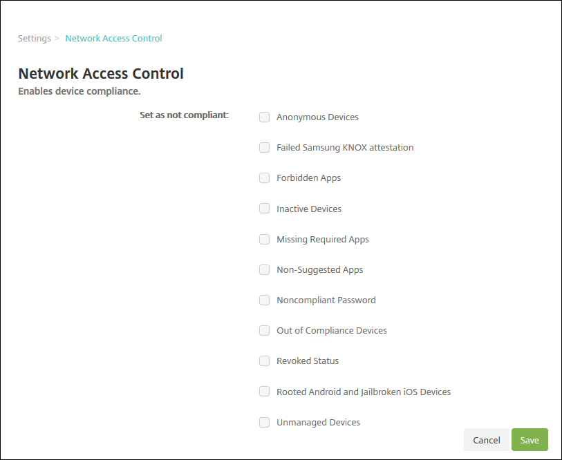 Image of Network Access Control Settings