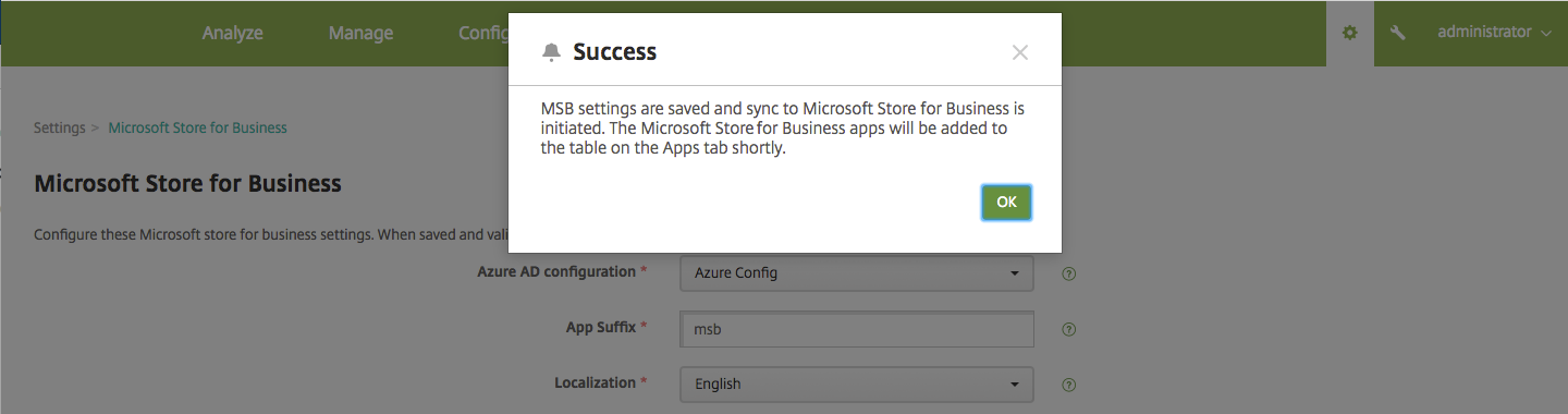 Microsoft Store for Business settings screen