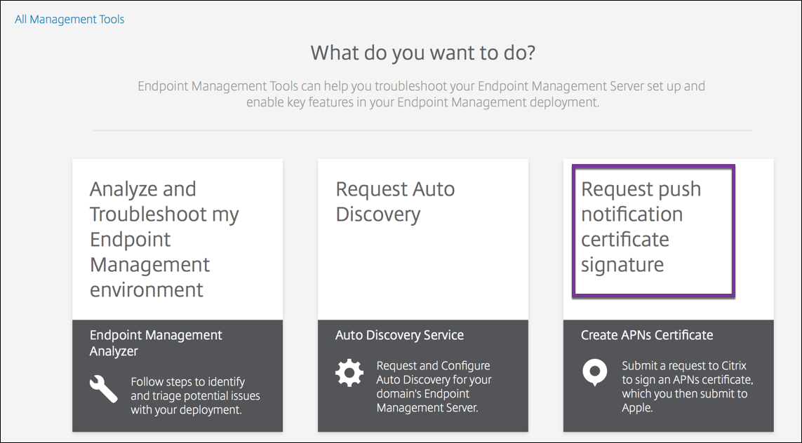 Endpoint Management Tools page