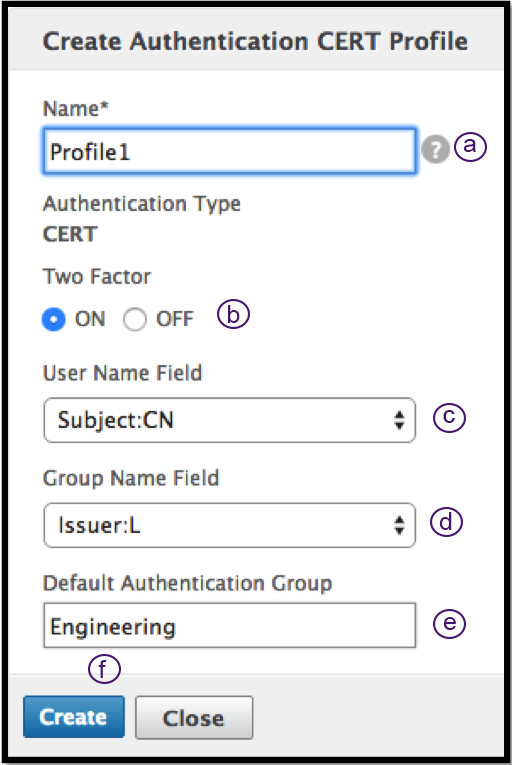 Create cert profile