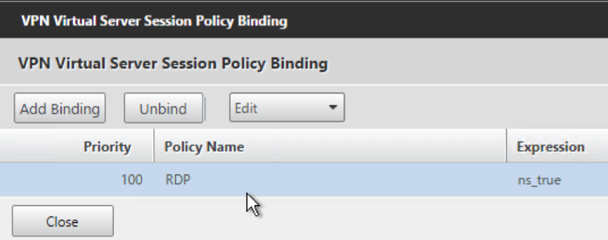 Bind session policy