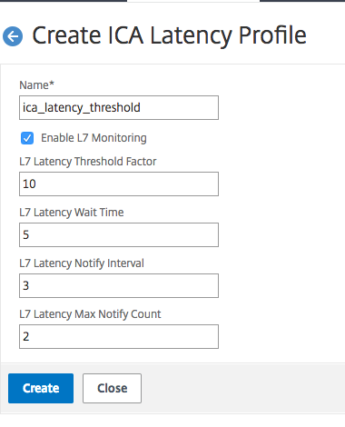 ICA latency profile creation