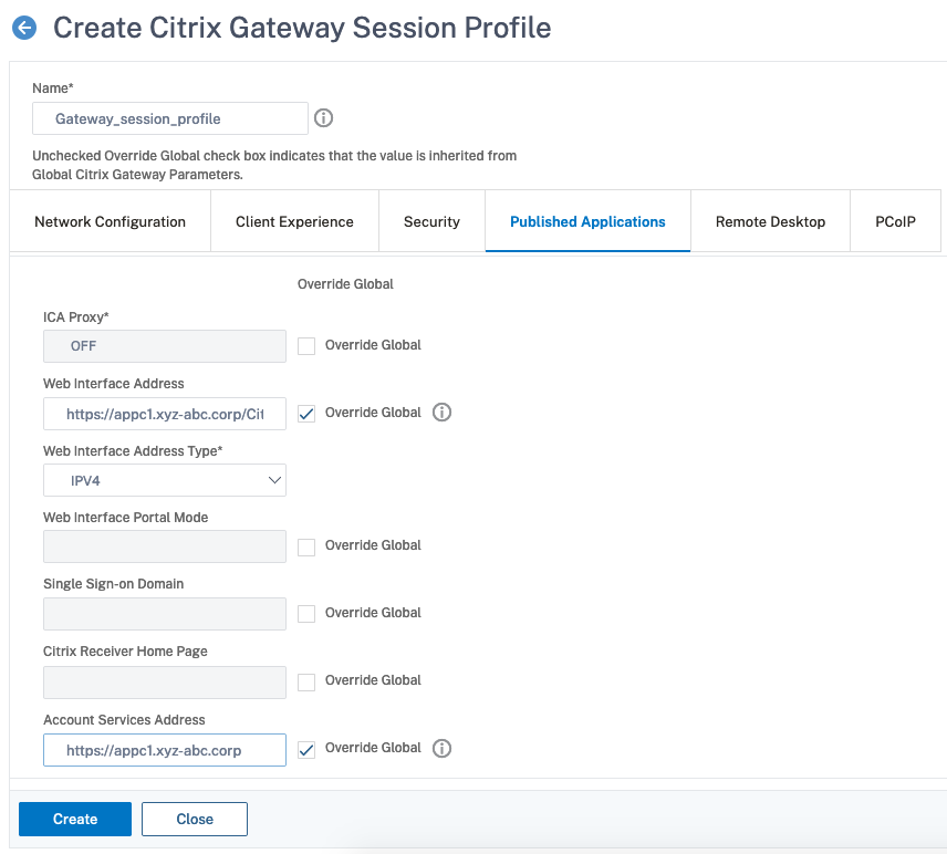 Published Applications Tab in the Session Profile for Citrix Gateway plug-in