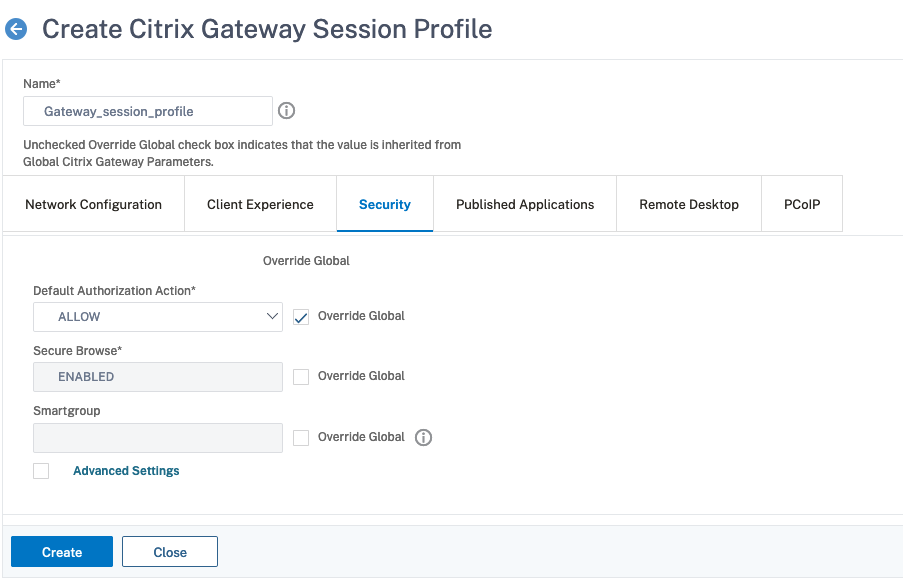 Security Tab in the Session Profile for Citrix Gateway plug-in