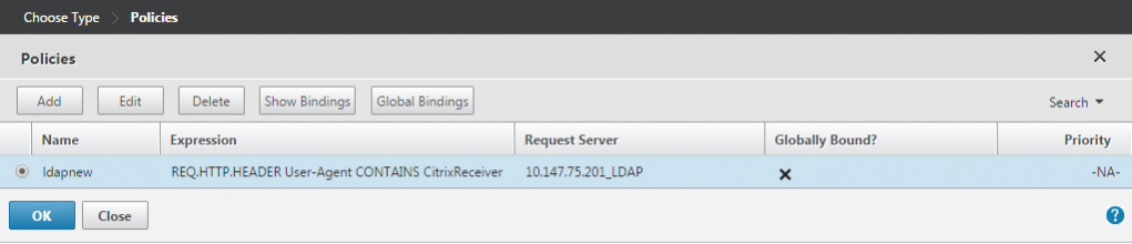 Select the LDAP policy