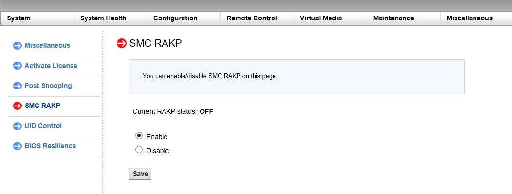 Enable or disable RAKP