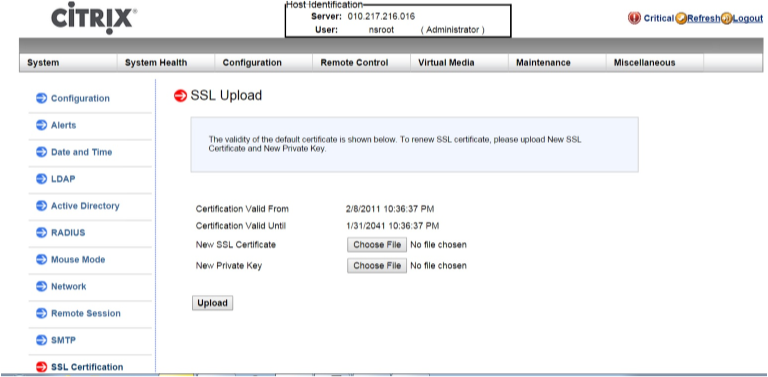 Install a certificate and key on the LOM GUI