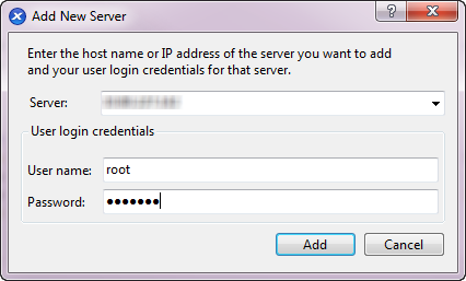 The Add A New Server wizard. The fields are Server, Username, and Password.