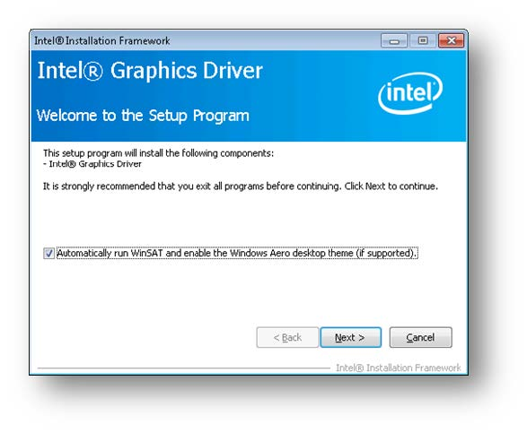 Intel Graphics Driver setup
