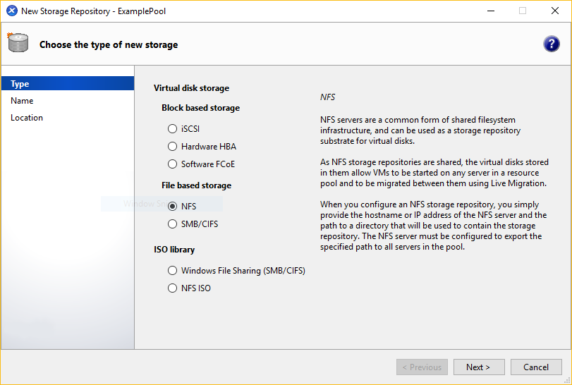 The New Storage wizard. On the Type panel, the NFS option is selected.