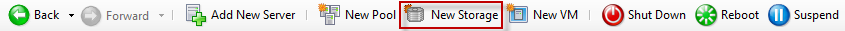 The toolbar. The New Storage button is highlighted. This button is fifth from the left.
