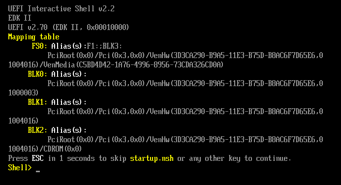 Console output from UEFI Secure Boot VM that does not start.