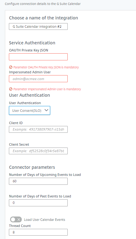 G Suite Calendar connector parameters, OAuth Private Key JSON, Impersonated Admin User