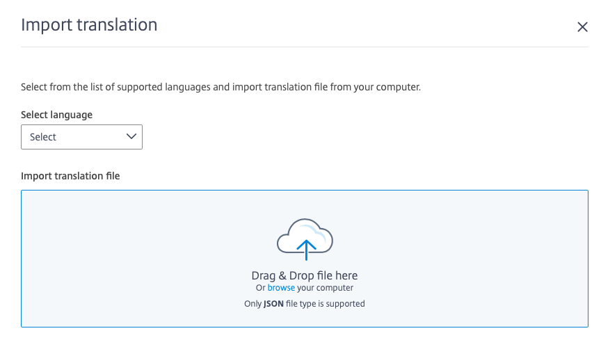 Page showing localization language import and export.