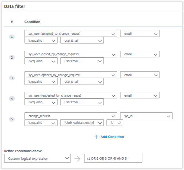 Data filter servicedesk details change request
