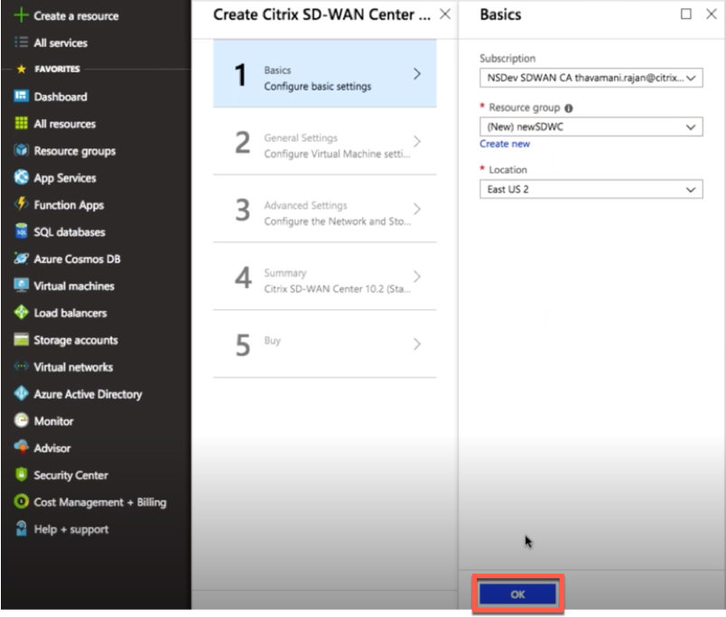 Citrix SD-WAN Center on Azure Marketplace using solution
