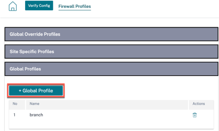 Hosted firewall global profile
