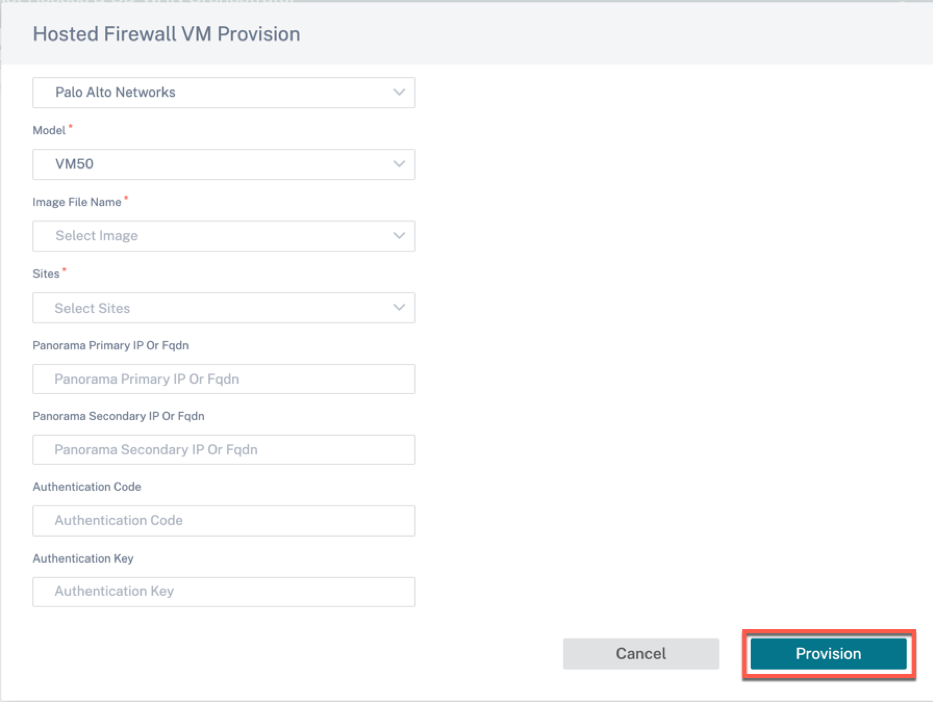 Hosted firewall provision detail