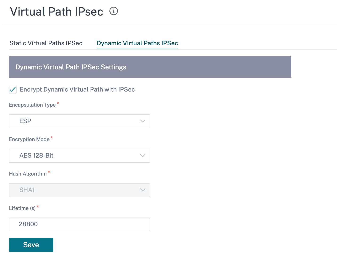 Virtual path IPsec setting