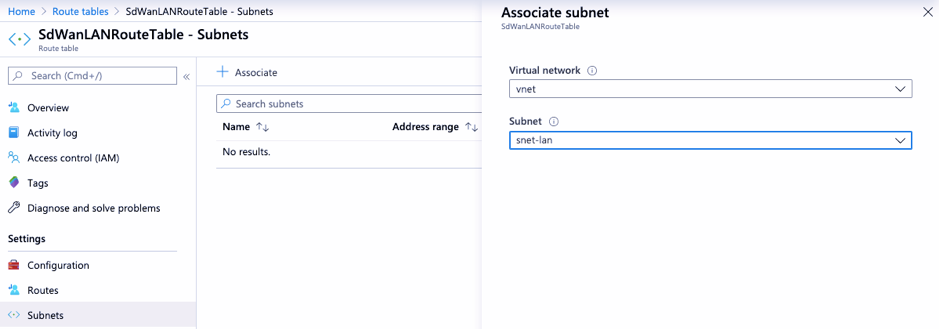 Associate LAN subnet