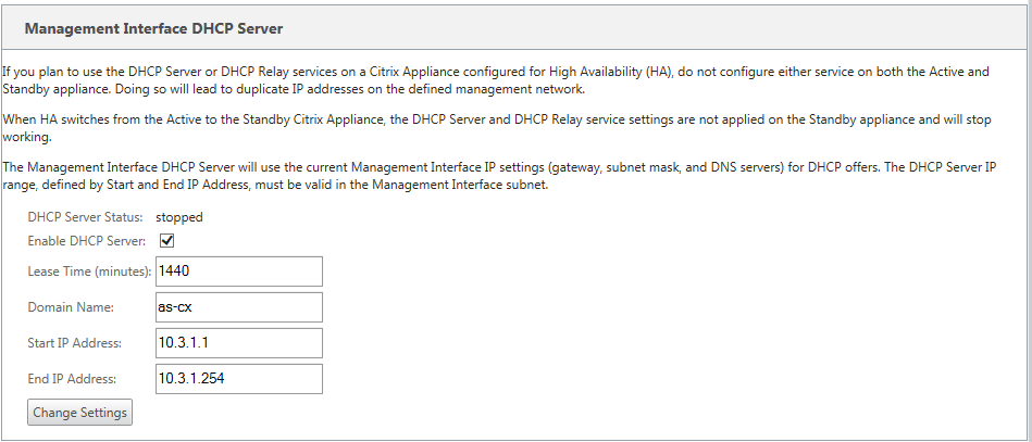 DHCP appliance settings DHCP server