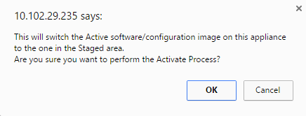 Activation staged confirmation pop-up