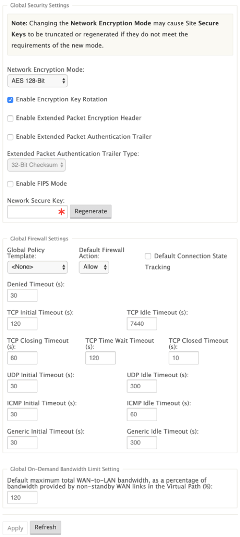 Global virtual WAN settings