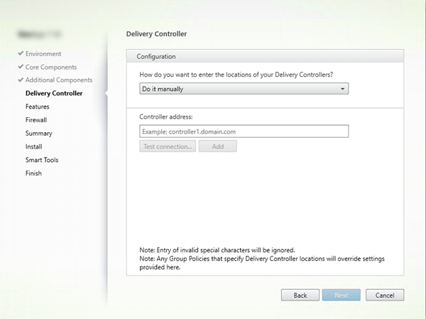 Delivery Controller page in VDA installer