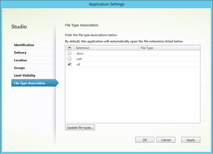 File type association Application Settings in Studio