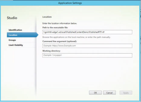 Path to executable file setting in Application Settings