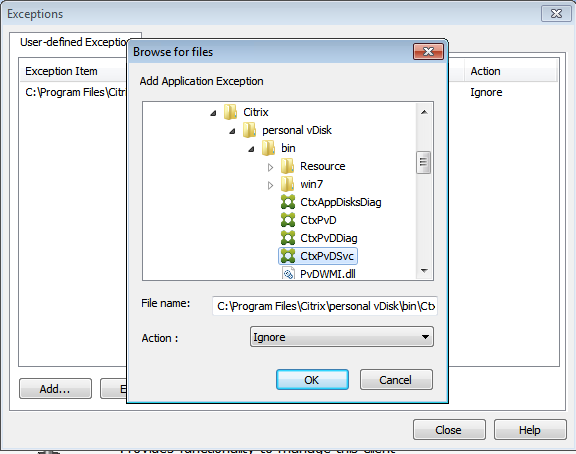Add files to exceptions