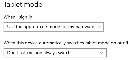 Tablet mode settings image