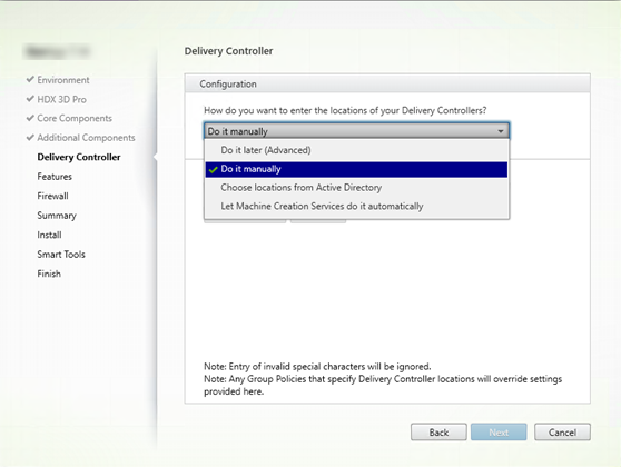 Delivery Controller page in the VDA installation wizard