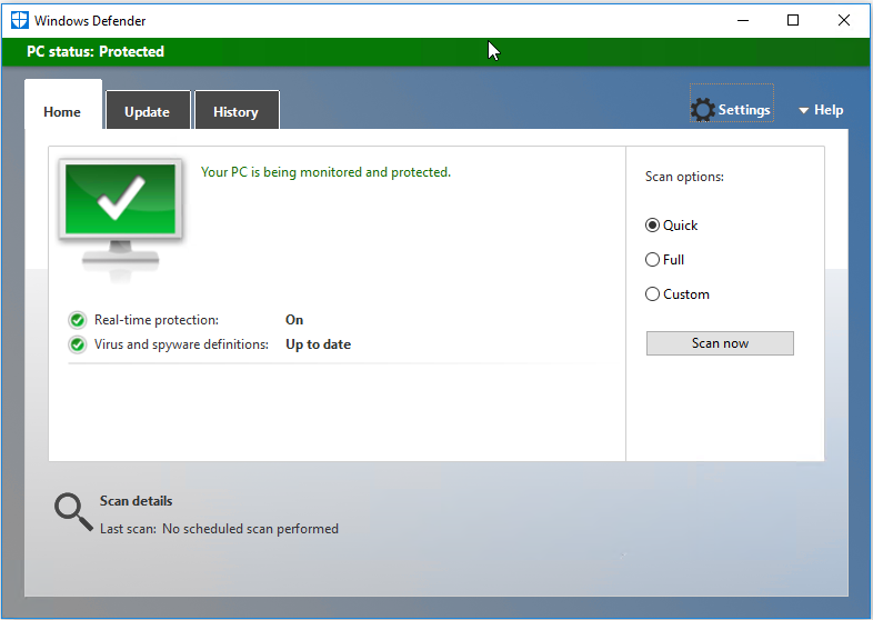 Select Settings icon in Windows Defender