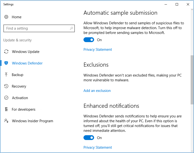 Add an exclusion in Windows Defender