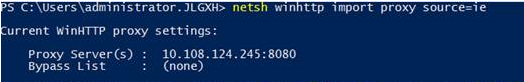 Example of running netsh command when configuring a proxy server