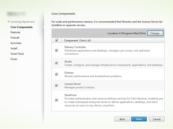 Core components page in component installer