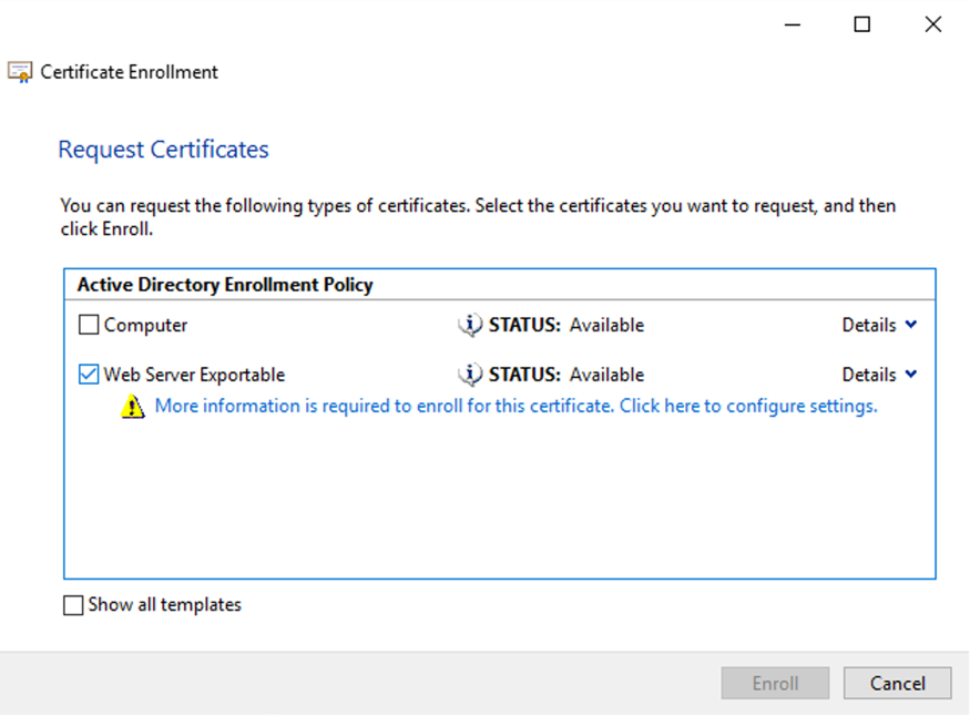 Request certificates dialog