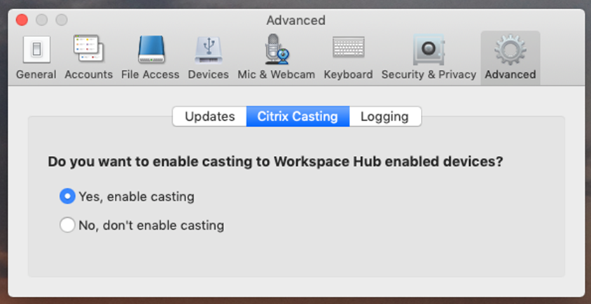 Enable Citrix Casting