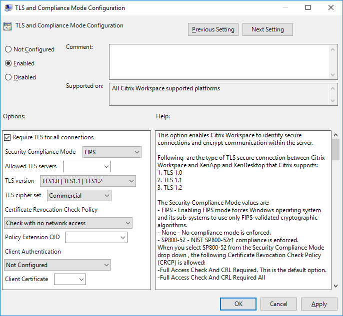 TLS and Compliance Mode policy