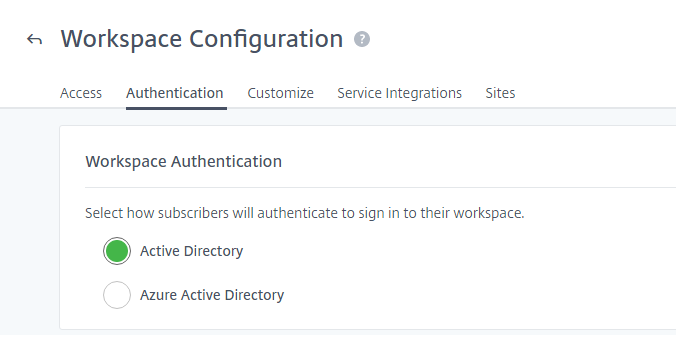 Workspace authentication settings