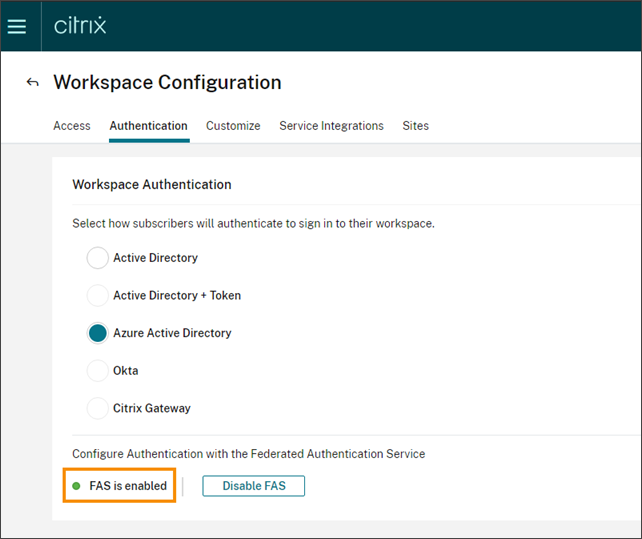 Workspace Configuration page with FAS enabled