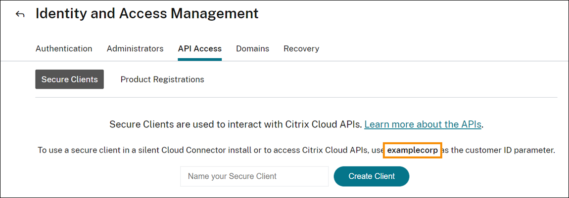 Secure Client console with Customer ID highlighted