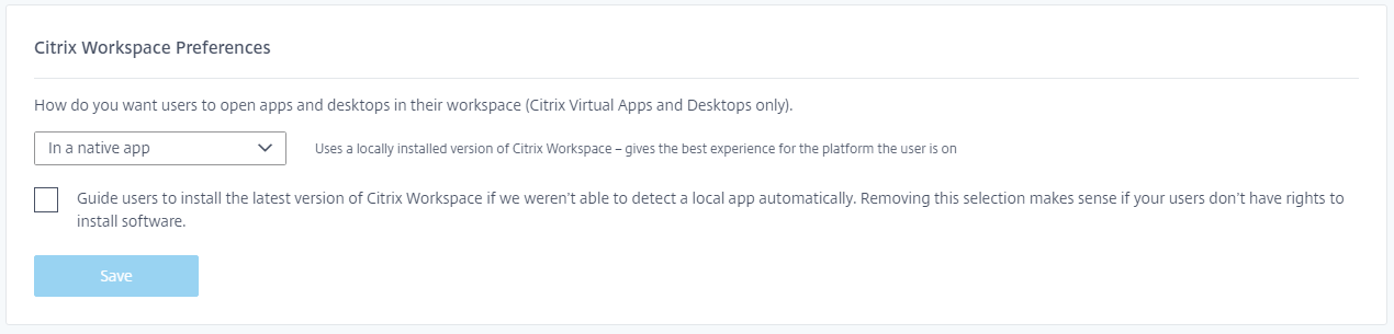 Parámetros de Preferencias de Citrix Workspace