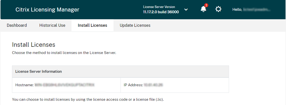 Hypervisor download and allocate licenses
