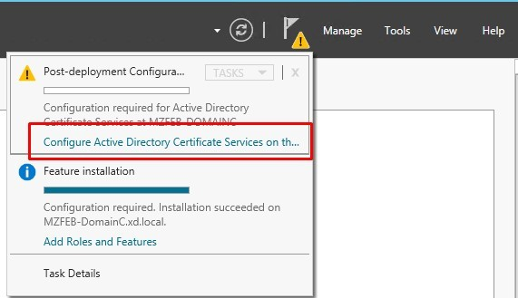 Image of configuring active directory certificate services